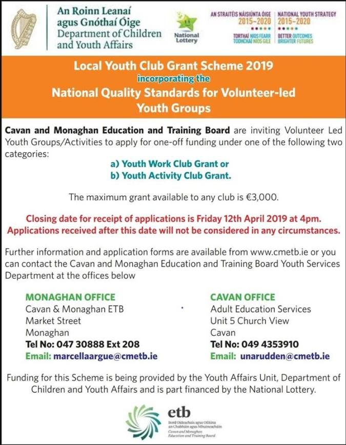 youth club grant 2019