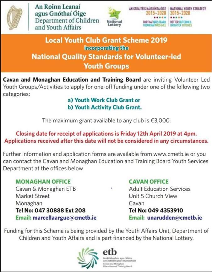 youth club grant 2019